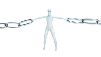 3d man and chain. link