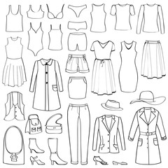 Fashion icons set. Female cloth collection. Dress silhouette.