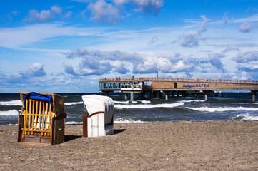 Strandkörbe am Strand, Ostseebad Heiligenhafen, Deutschland