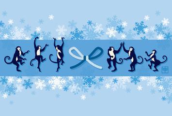 踊るサルと雪の結晶の背景