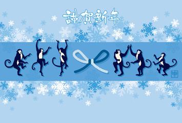踊るサルと雪の結晶の背景 賀詞付