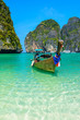Leinwanddruck Bild - Long-tail boats in Maya Bay, Thailand