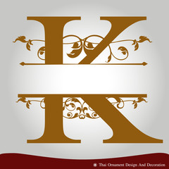 Vector of Letter K in the old vintage style.
