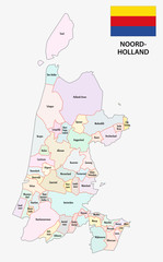 province north holland map with flag