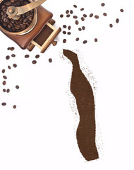 Coffee powder in the shape of Togo and a coffee mill.(series)