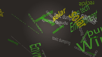 Environmental Falling Words on Solid Color Background