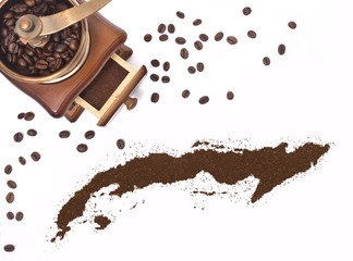 Coffee powder in the shape of Cuba and a coffee mill.(series)