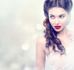 Beauty fashion model retro girl over blinking background