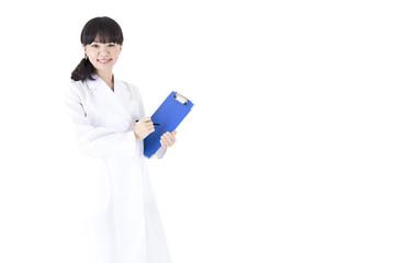 白バック 東洋人の医者 女医