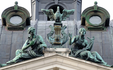 Bronze symbolic sculpture . Solomiya Krushelnytska Lviv State Ac