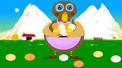 Recogiendo huevos en la granja