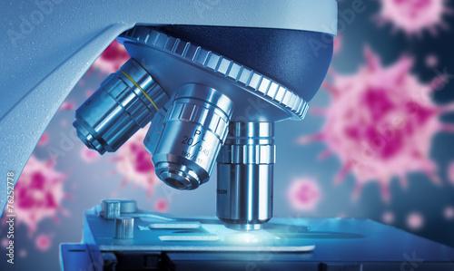 Leinwanddruck Bild Viren und Mikroskop
