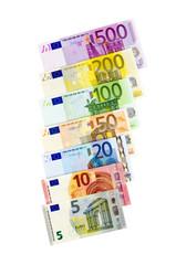 Eine Reihe von Euro- Geldscheinen von 5 bis 500