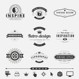Retro Vintage Labels Logo design vector typography lettering poster