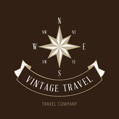 Wind Rose Vintage retro Logo design Travel company