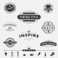 Retro Vintage Labels Logo design vector typography