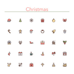 Christmas Colored Line Icons