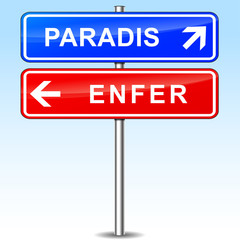 paradise and hell directions signs