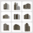 Leinwandbild Motiv Set of dimensional buildings icons in grey and white with shadow
