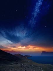 Sunset on mountains