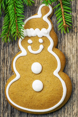 Christmas gingerbread on  a wooden table