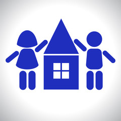 Silhouettes of children around the House. Vector illustration