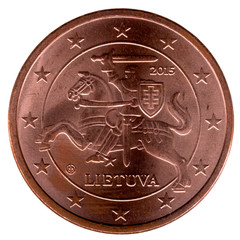 Lithuanian coin 5 cent on white
