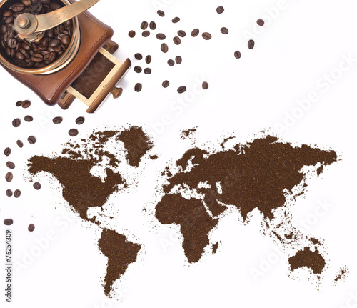 Papiers peints Salle de cafe Coffee powder in the shape of the world and a coffee mill.(serie