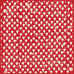 White hearts on red pattern background