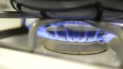 Blue flame on stove top