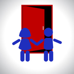 Children stand in front of the door. Vector illustration