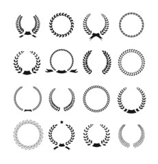 Set of black and white silhouette circular laurel  foliate