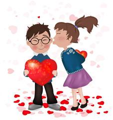 kiss. Children. love