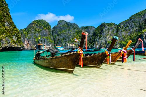 Poster Long-tail boats in Maya Bay, Thailand