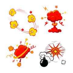 Comic Book Explosion, Bombs And Blast Set, cartoon fire bomb,
