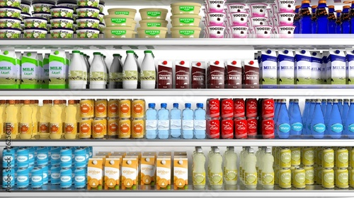 Fotobehang Boodschappen Supermarket refrigerator with various products