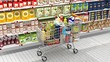 Supermarket interior and shopping cart with various products - 76256540