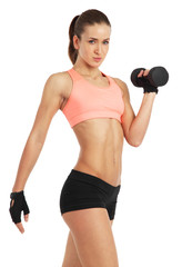 Fit woman with dumbbell - isolated over white background