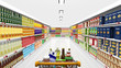Supermarket interior and shopping cart with various products - 76256710