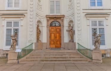 Entrance of Myslewicki Palace (1779) in Warsaw, Poland