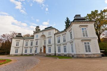 Myslewicki Palace (1779) in Royal Baths Park of Warsaw, Poland
