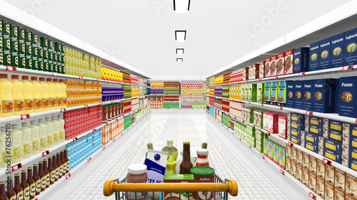 Keuken foto achterwand Boodschappen Supermarket interior and shopping cart with various products