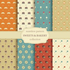 Sweets and bakery seamless pattern