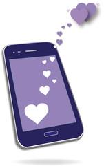 Smartphone mit 2 Herzen, Vektor