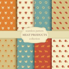 Seamless pattern on a theme of meat products