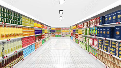Supermarket interior with shelves and various products - 76256985