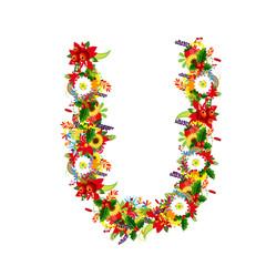 Floral letter U for your design