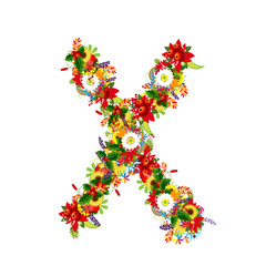 Floral letter X for your design