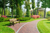 Beautiful park with bench poster
