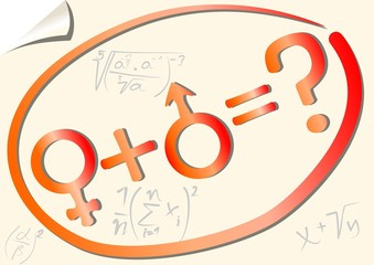Gender mathematical equation with female and male symbol